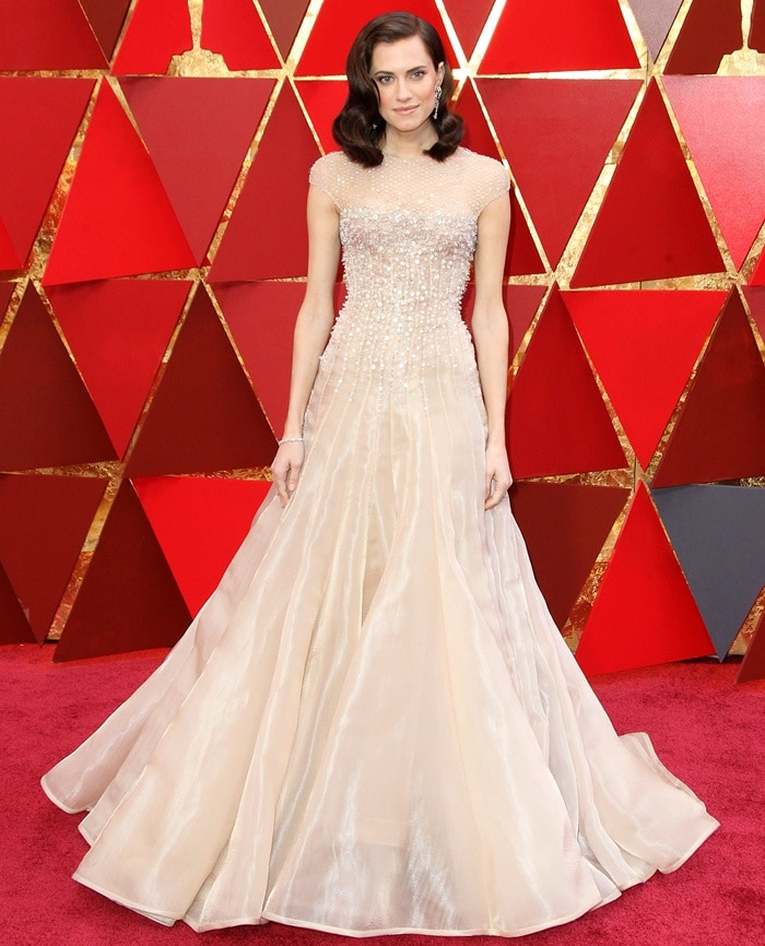 Allison Williams in a fairy tale dress at the 2018 Oscars at the Hollywood & Highland Center in Hollywood, California, on March 4, 2018