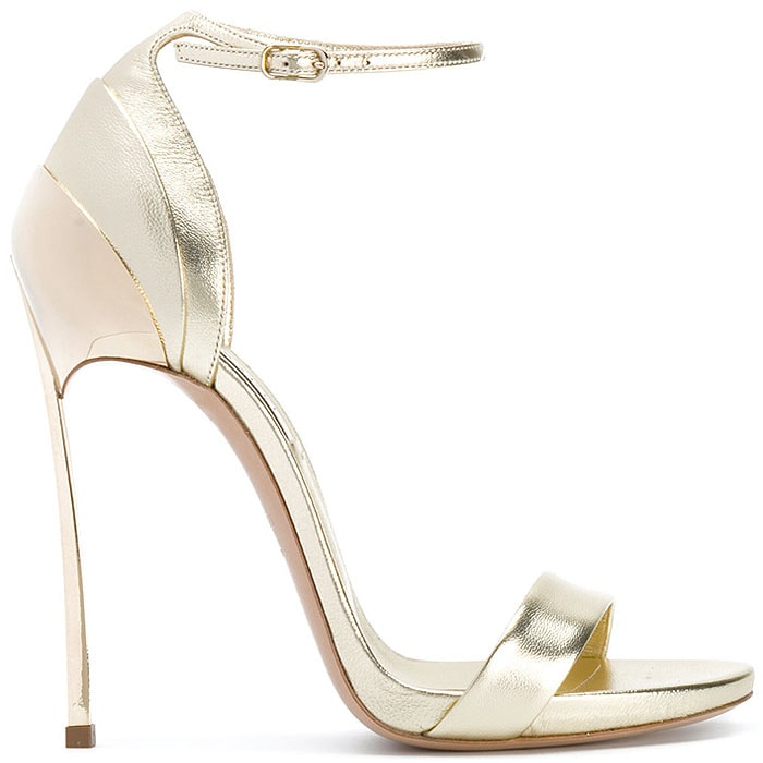 Casadei Layered-Heel Ankle-Strap Sandals in Metallic Gold