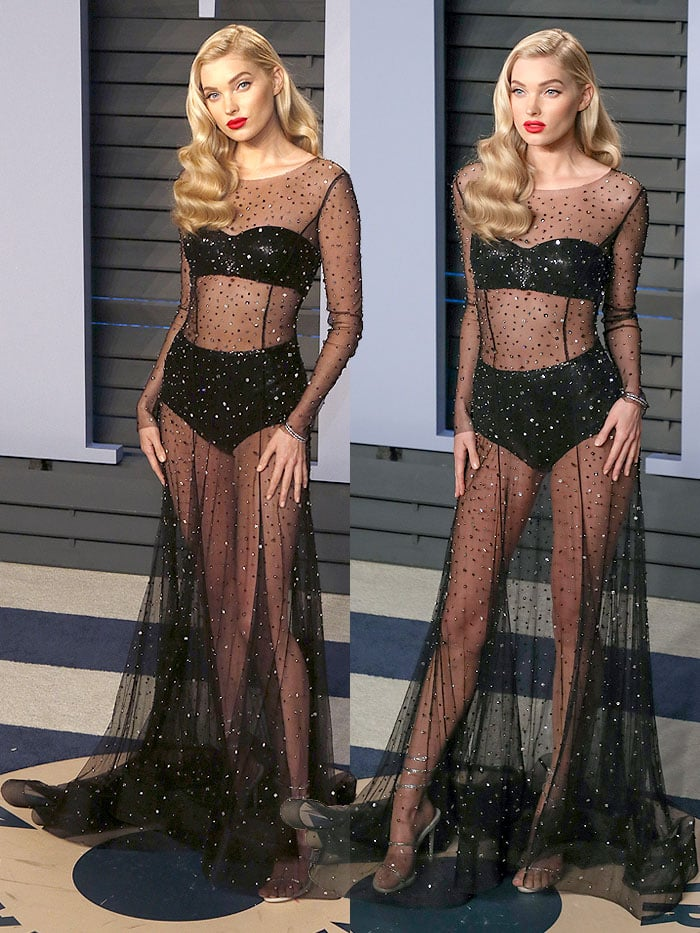 Elsa Hosk in a see-through Alberta Ferreti long-sleeved gown dotted with crystals and Rene Caovilla sandals.