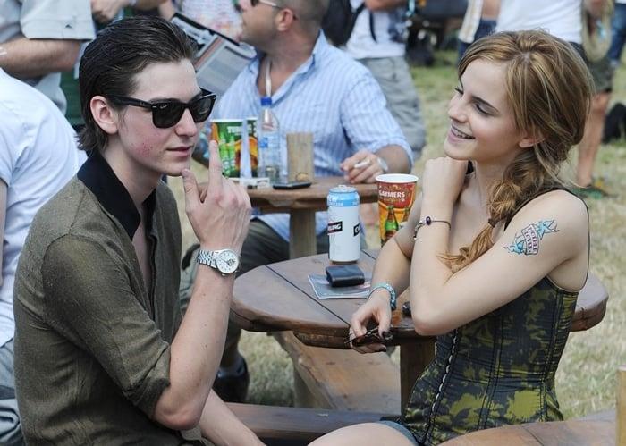 Emma Watson got a fake tattoo with her boyfriend George Craig at the 2010 Glastonbury Music Festival
