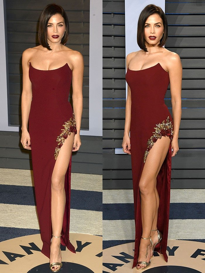 Jenna Dewan Tatum in a Pamella Roland Fall 2018 wine-red strapless gown and Casadei gold ankle-strap sandals at the 2018 Vanity Fair Oscar Party