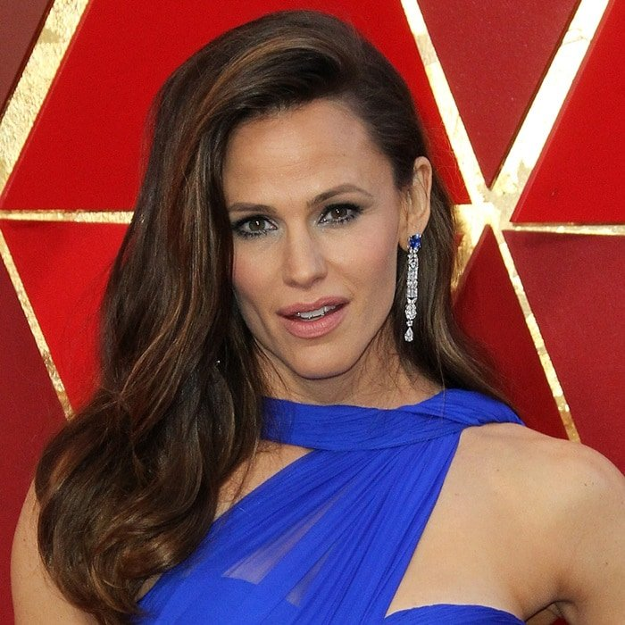 Jennifer Garner's 18-carat white gold earrings set with diamonds and blue sapphires that cost a gargantuan $605,000