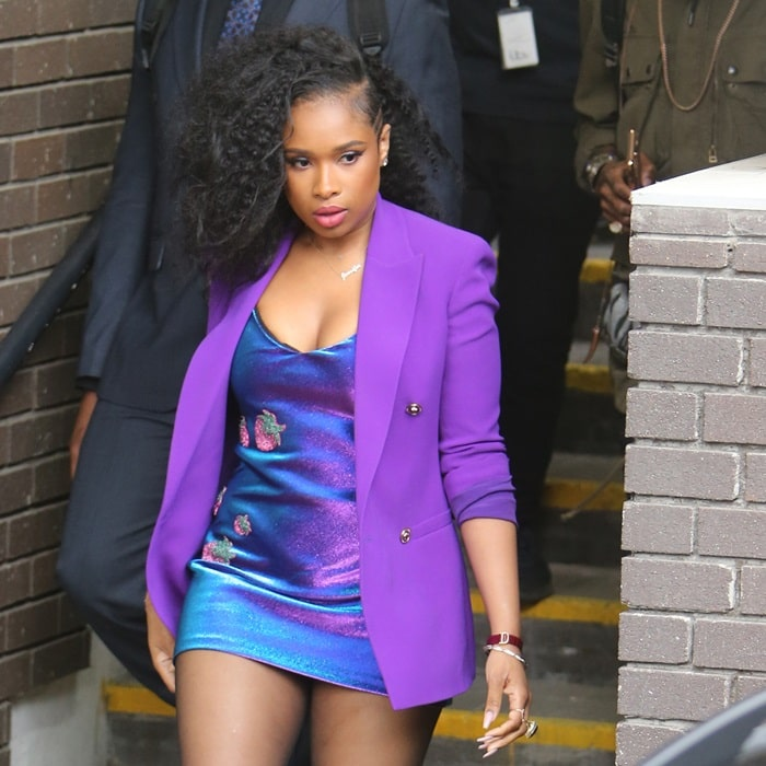 Jennifer Hudson wearing Area's iridescent blue and purple cotton-blend lamé cami dress