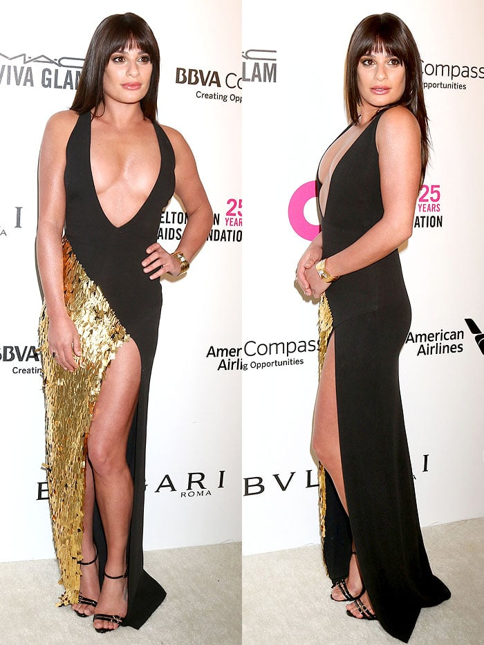 Lea Michele in a La Perla Pre-Fall 2018 black-and-gold-sequined dress and Giuseppe Zanotti 'Drew' sandals at the 2018 Elton John AIDS Foundation's Academy Awards Viewing Party.