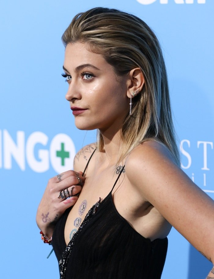 Paris Jackson's slicked-back hair