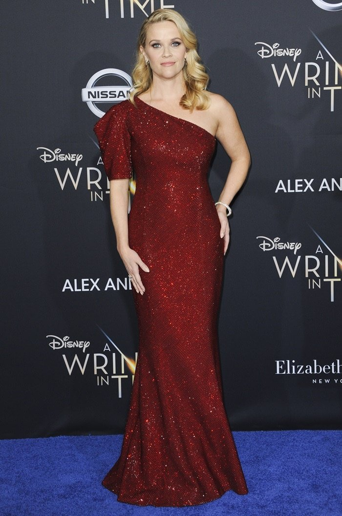 Reese Witherspoon wearing a Michael Kors Collection custom claret crystal-embroidered gown to celebrate the premiere of Disney's 'A Wrinkle In Time' in Los Angeles, California, on February 26, 2018