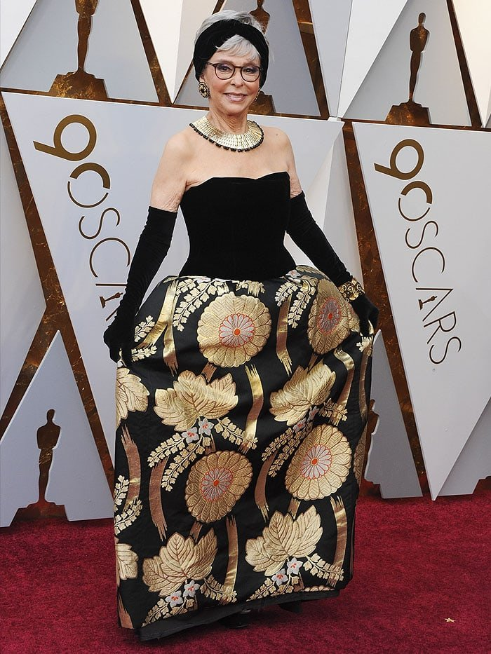 Rita Moreno rewearing her 1962 Oscars gown for the 2018 Oscars.