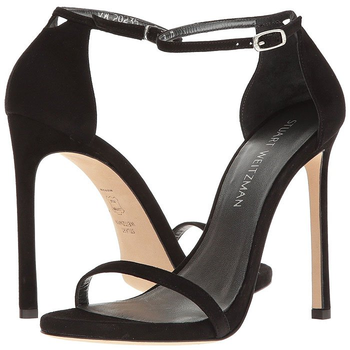 "Stuart Weitzman ""Nudist"" Sandals in black suede"