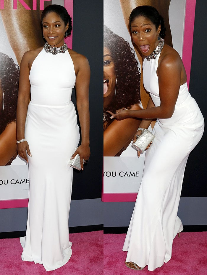 "Tiffany Haddish wearing her Alexander McQueen white halter dress for the first time at the L.A. premiere of ""Girls Trip."""