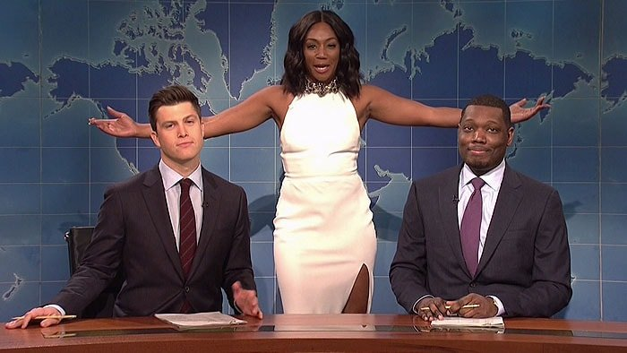 "Tiffany Haddish appearing again in her white McQueen dress during a segment of her ""Saturday Night Live"" guest appearance that aired on November 12, 2017."