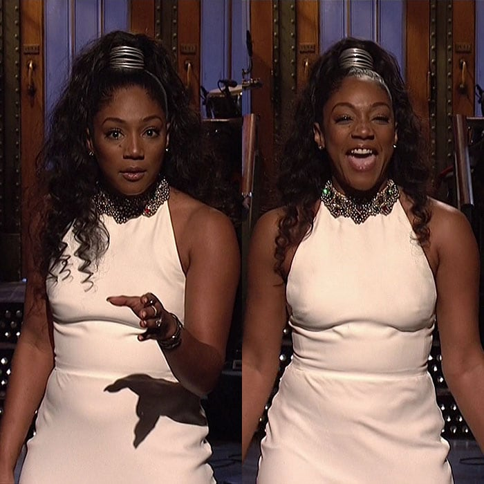 "Tiffany Haddish's second wearing of her Alexander McQueen white halter dress on ""Saturday Night Live."""