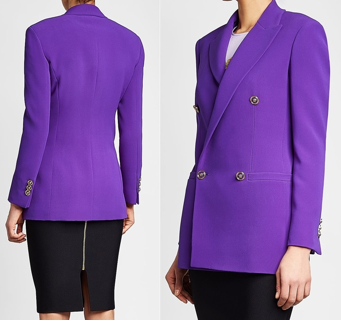 Vibrant purple Versace blazer crafted from pure silk and detailed with glossy gold-tone buttons