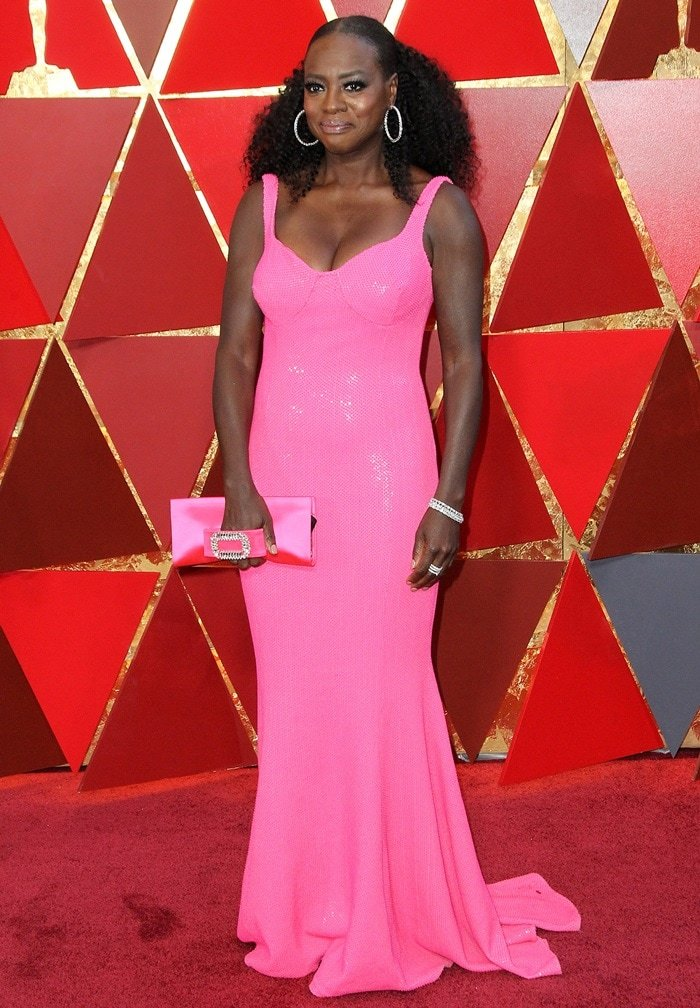 Viola Davis's jaw-dropping hot pink Michael Kors gown with a matching Roger Vivier clutch