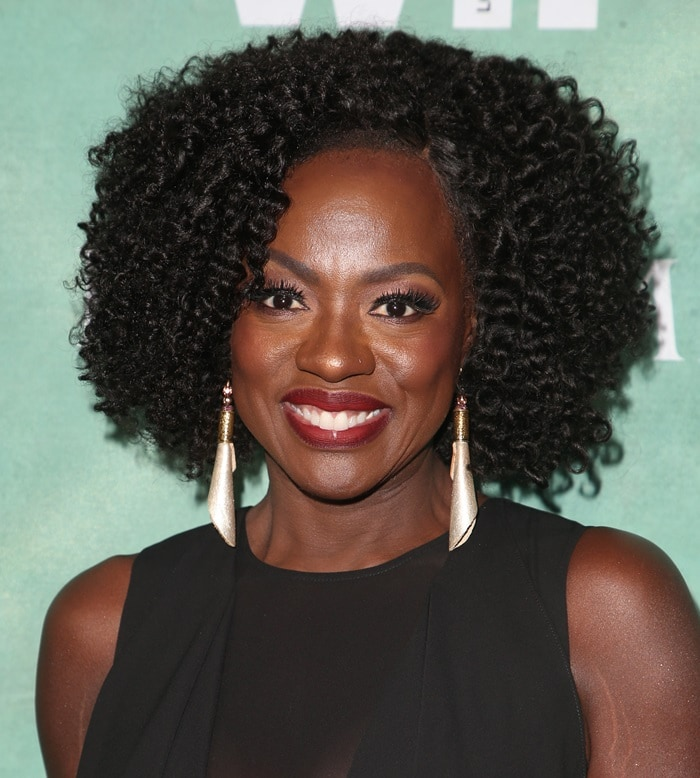 Viola Davis wearing silver Gwendolyn McCann-Mulamba earrings