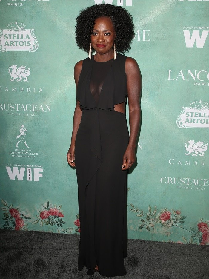 Viola Davis wearing an ultra-sheer BCBG Max Azria gown