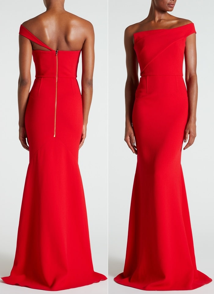 The 'Lockton' gown in poppy red double wool crepe marries up a strapless bodice with a single, tapered strap that dips low on one shoulder and wraps around the back to meet a polished gold zip
