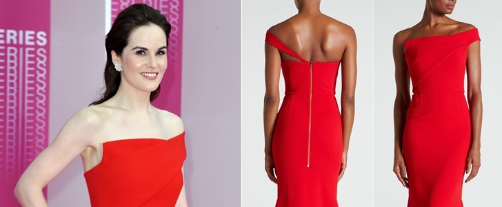 Red Is Her Color: Michelle Dockery in 'Lockton' One-Shoulder Crepe Gown