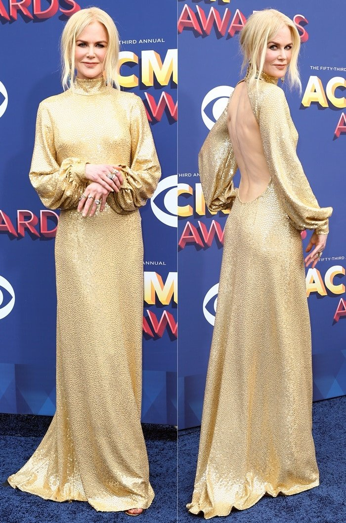 Nicole Kidman's gold sequin gown features an open back