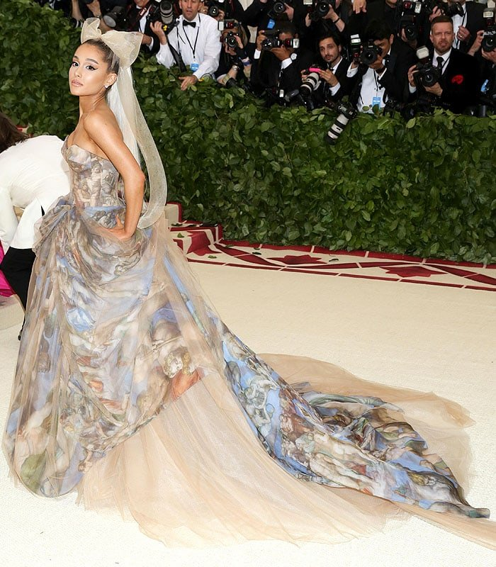 Ariana Grande in a Vera Wang Sistine Chapel strapless ball gown at the 2018 Met Gala.