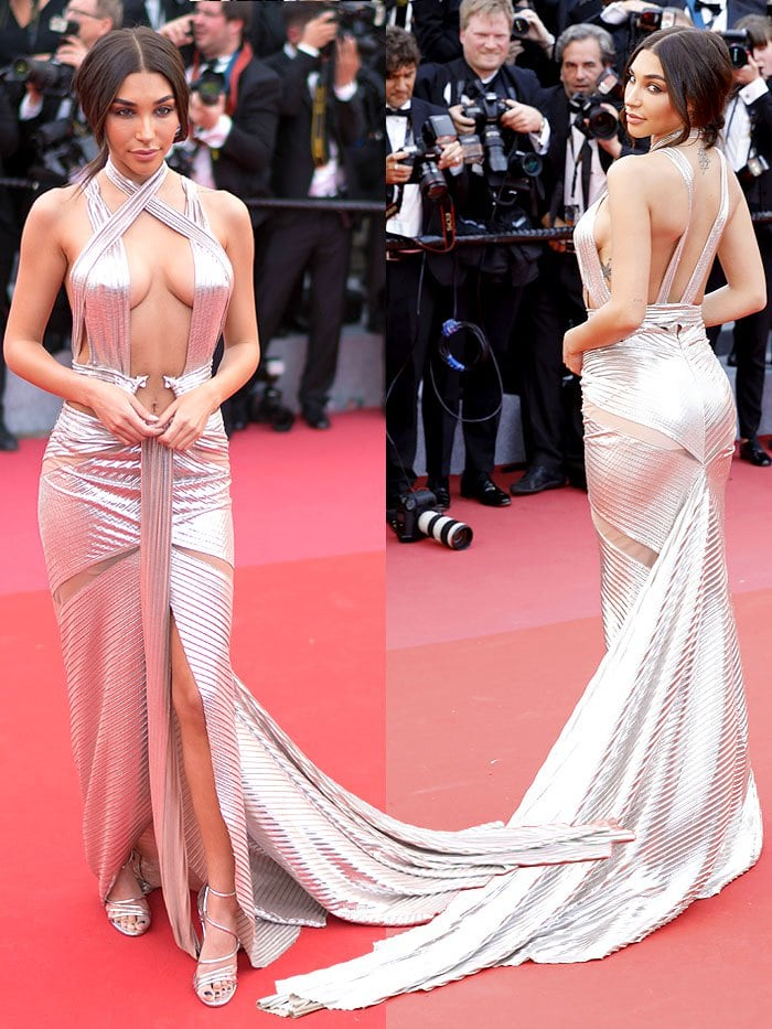 Chantel Jeffries in a Lexi Clothing metallic-silver ringed Grecian gown.
