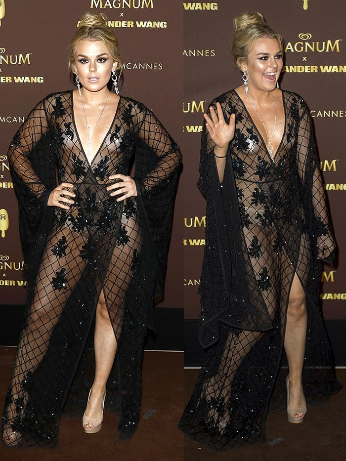 Tallia Storm baring nipple tape and nude underwear in a flower-sequined, black robe gown.