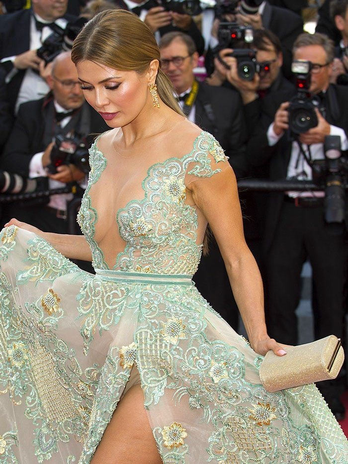 Victoria Bonya flashing her nude underwear at 2018 Cannes Film Festival.