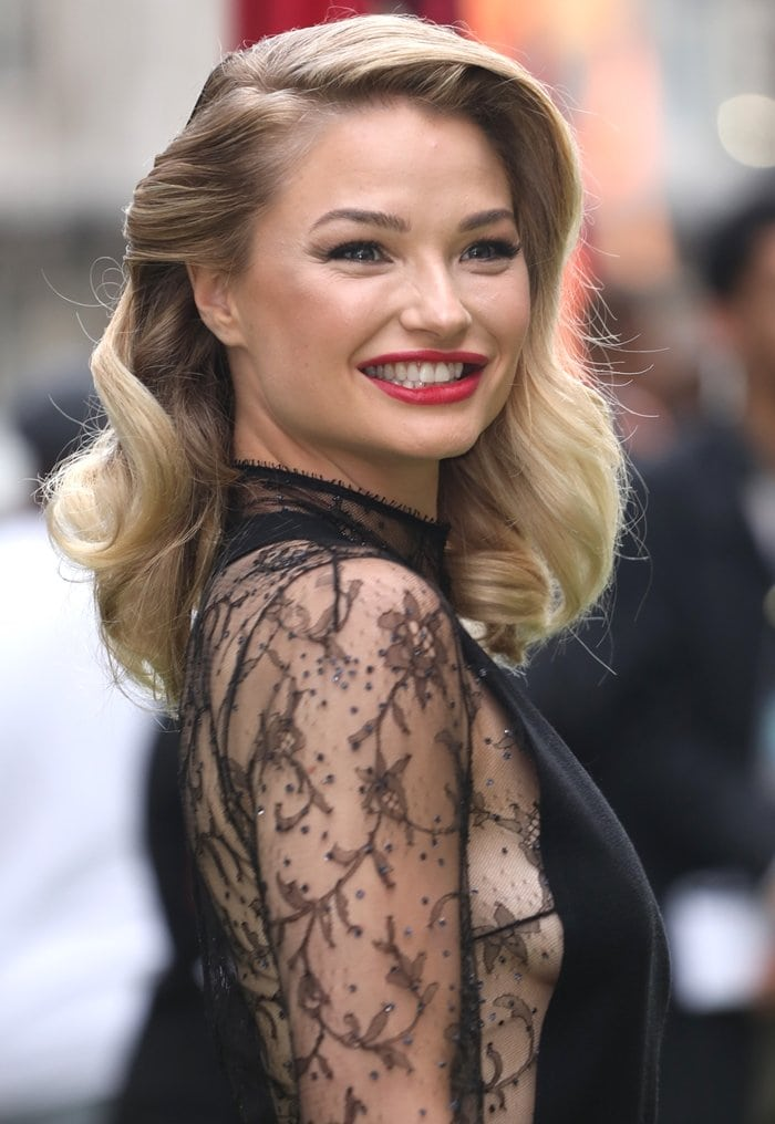 Emma Rigby flashes sideboob in a lace gown at the World Premiere of 'The Festival'
