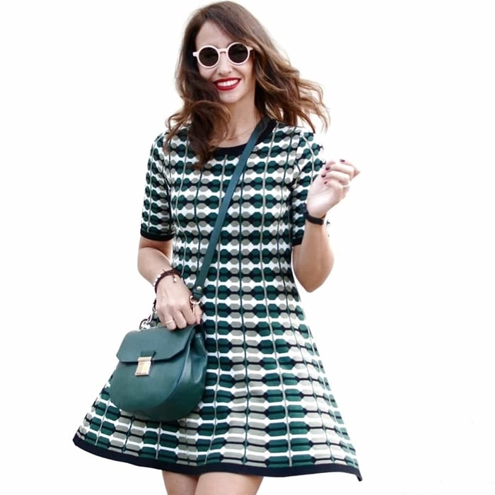 Silvia's beautiful green patterned fit-and-flare short dress