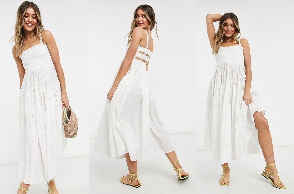 You'll never go wrong with a flowy white sundress, like Asos Design's Cami Midi dress, for summer