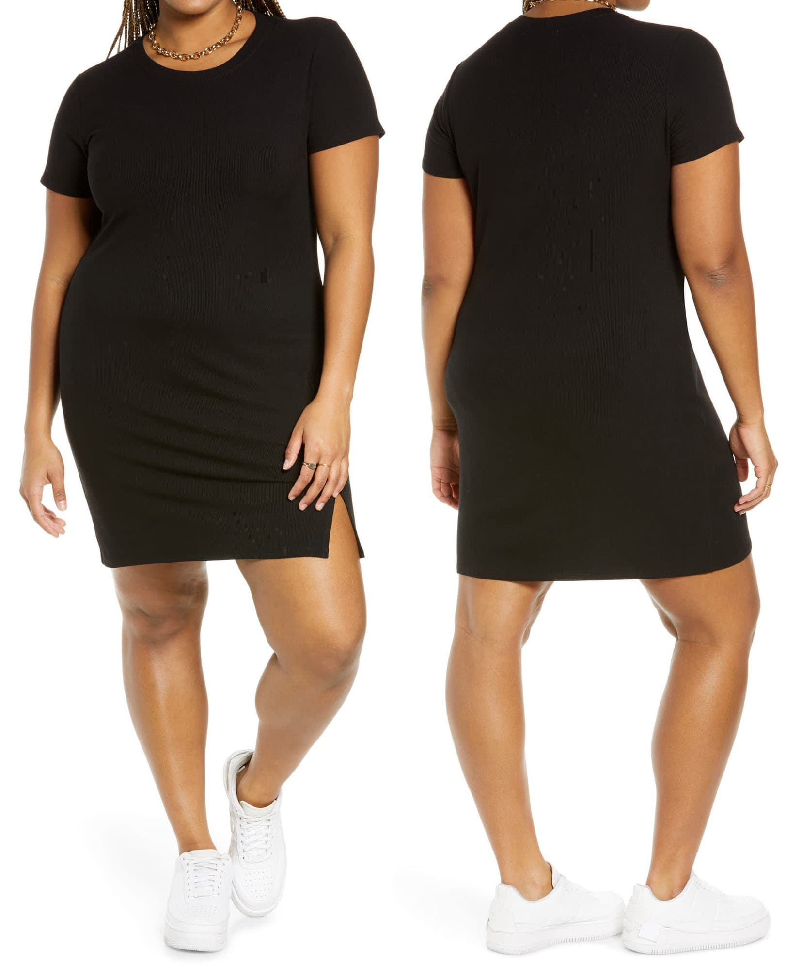 Perfect a casual-cool vibe in BP.'s short-sleeved rib t-shirt dress, made from stretchy rayon-spandex