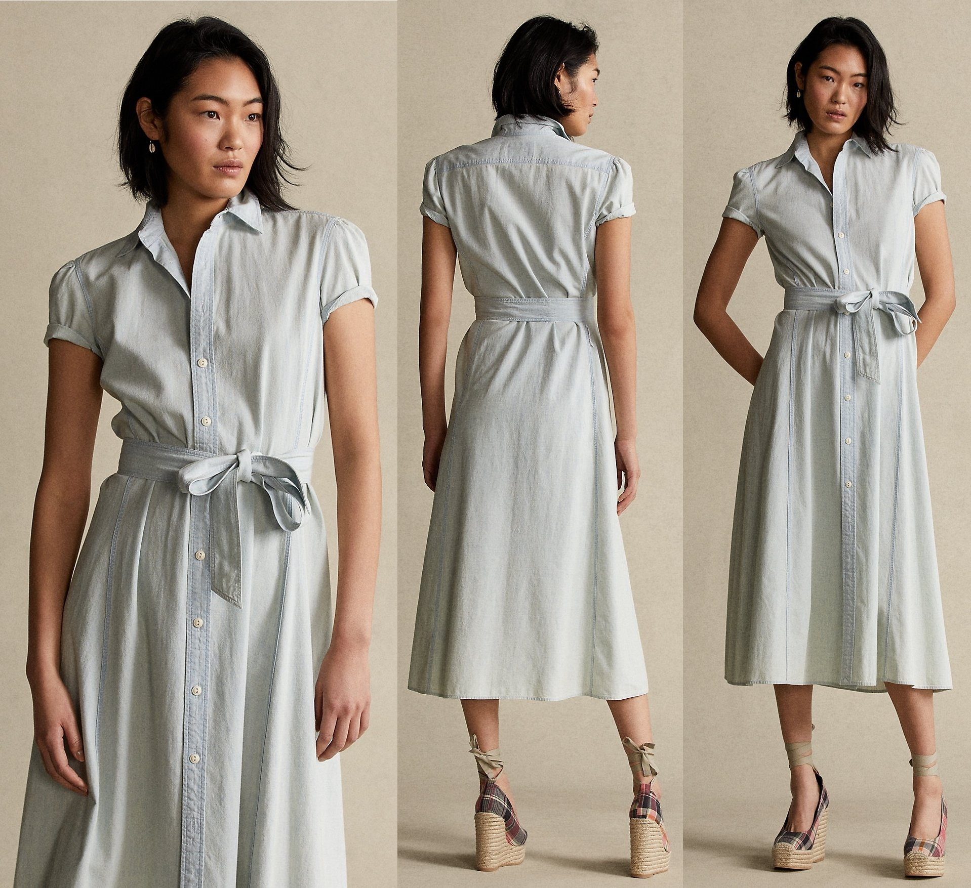 Presented in a casual chambray hue, this lightweight cotton shirtdress features a fluid A-line skirt and is accented with a self-belt at the waist