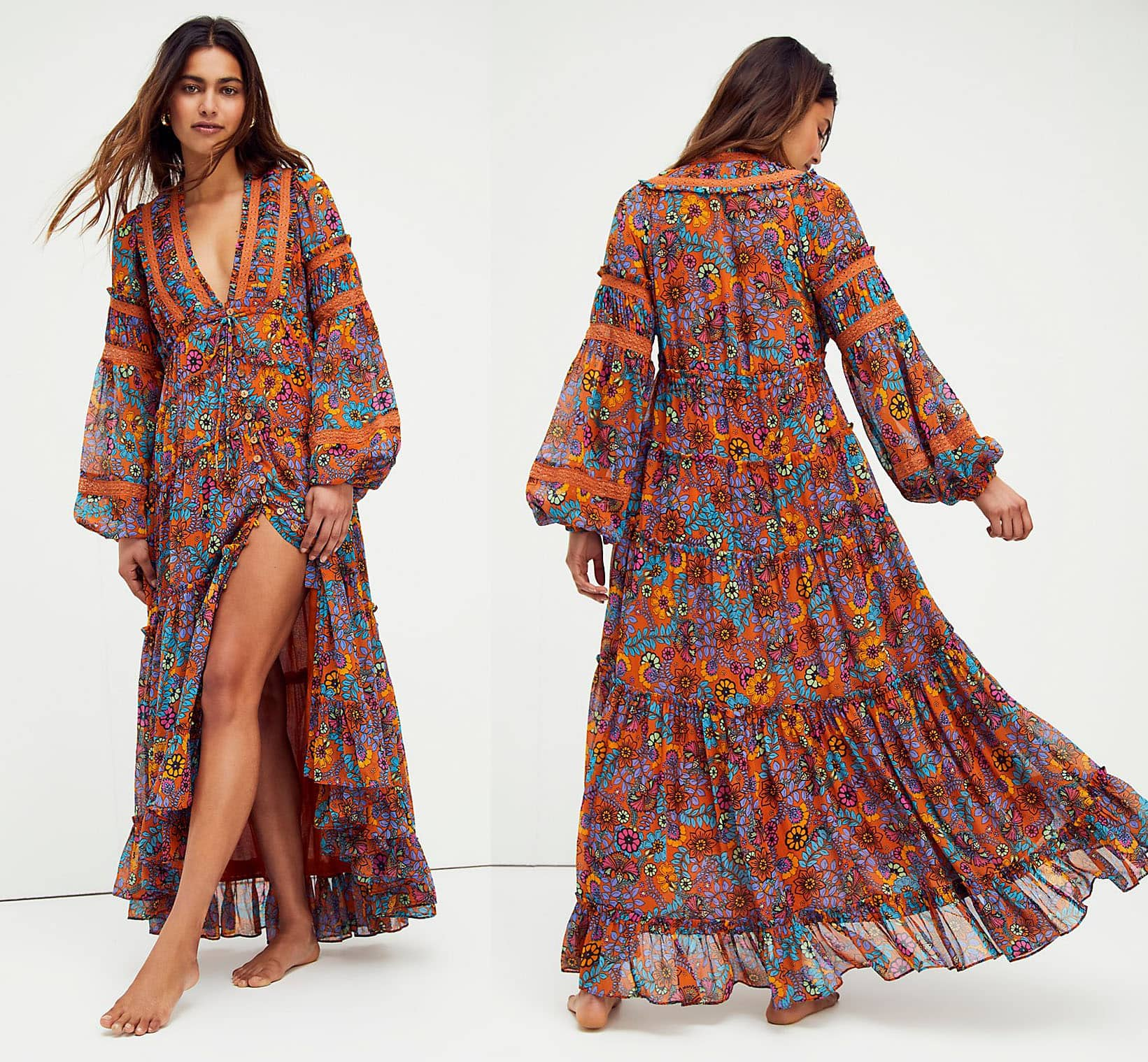 Go the boho route in this flowy floral tiered midi dress from Free People