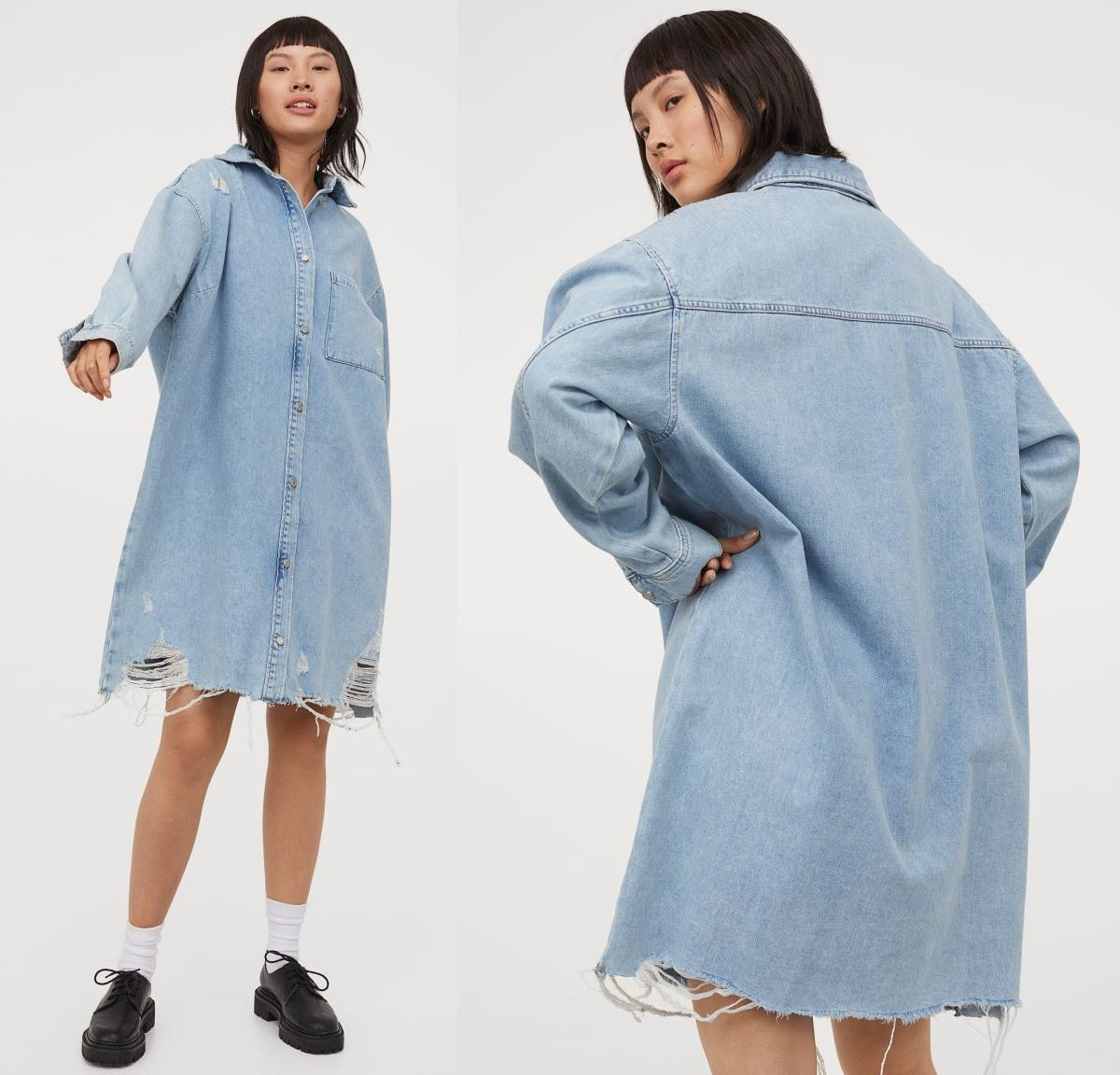 This oversized denim dress with shredded and frayed hem is a must-have for summer