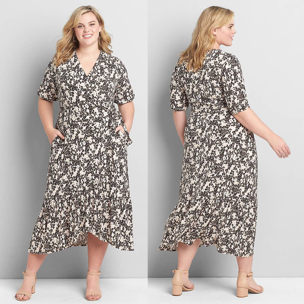 Lane Bryant's floral midi dress has a flattering faux-wrap silhouette, a v-neck, and a flowy wide ruffle along the hem