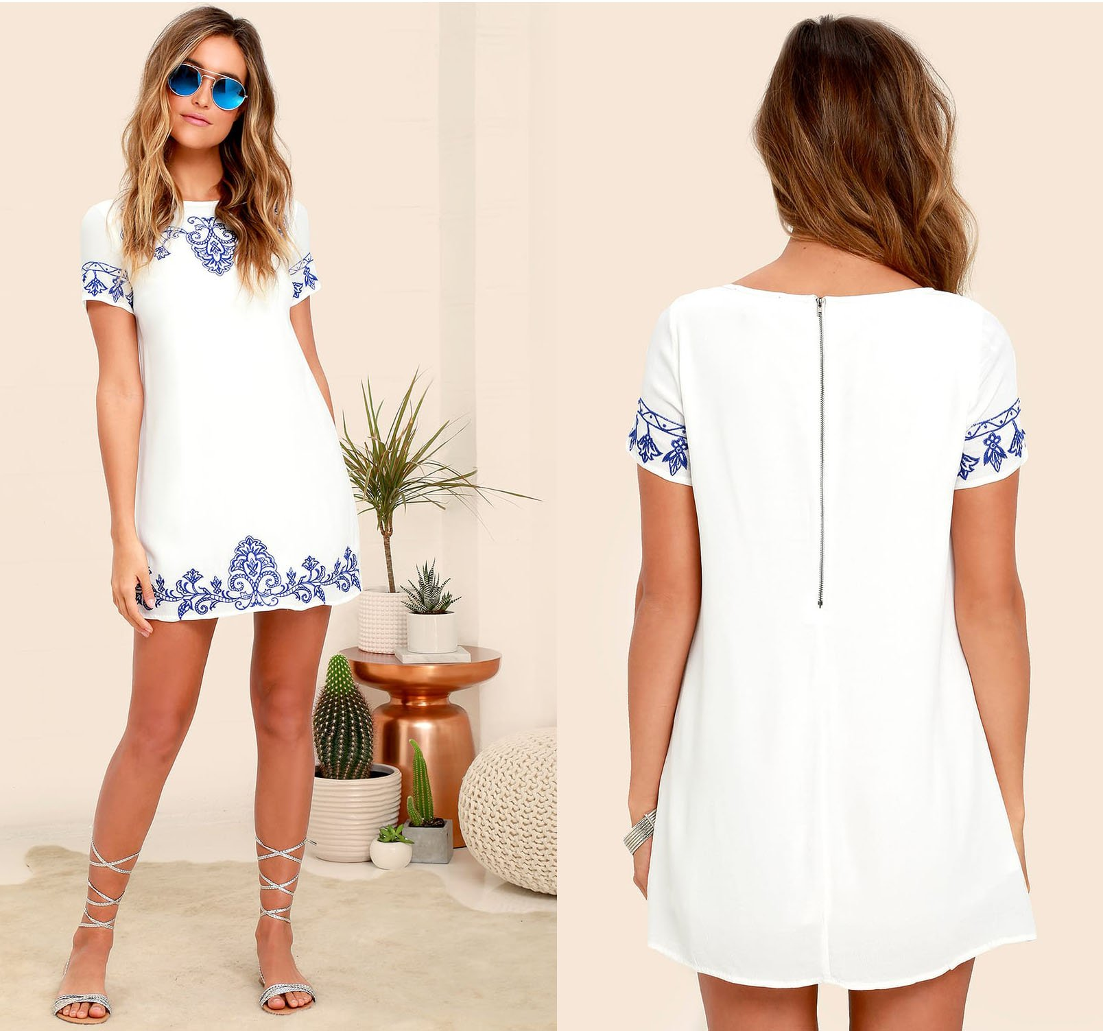 This cute blue-and-white Tale to Tell shift dress from Lulus can be dressed up or down for any occasion