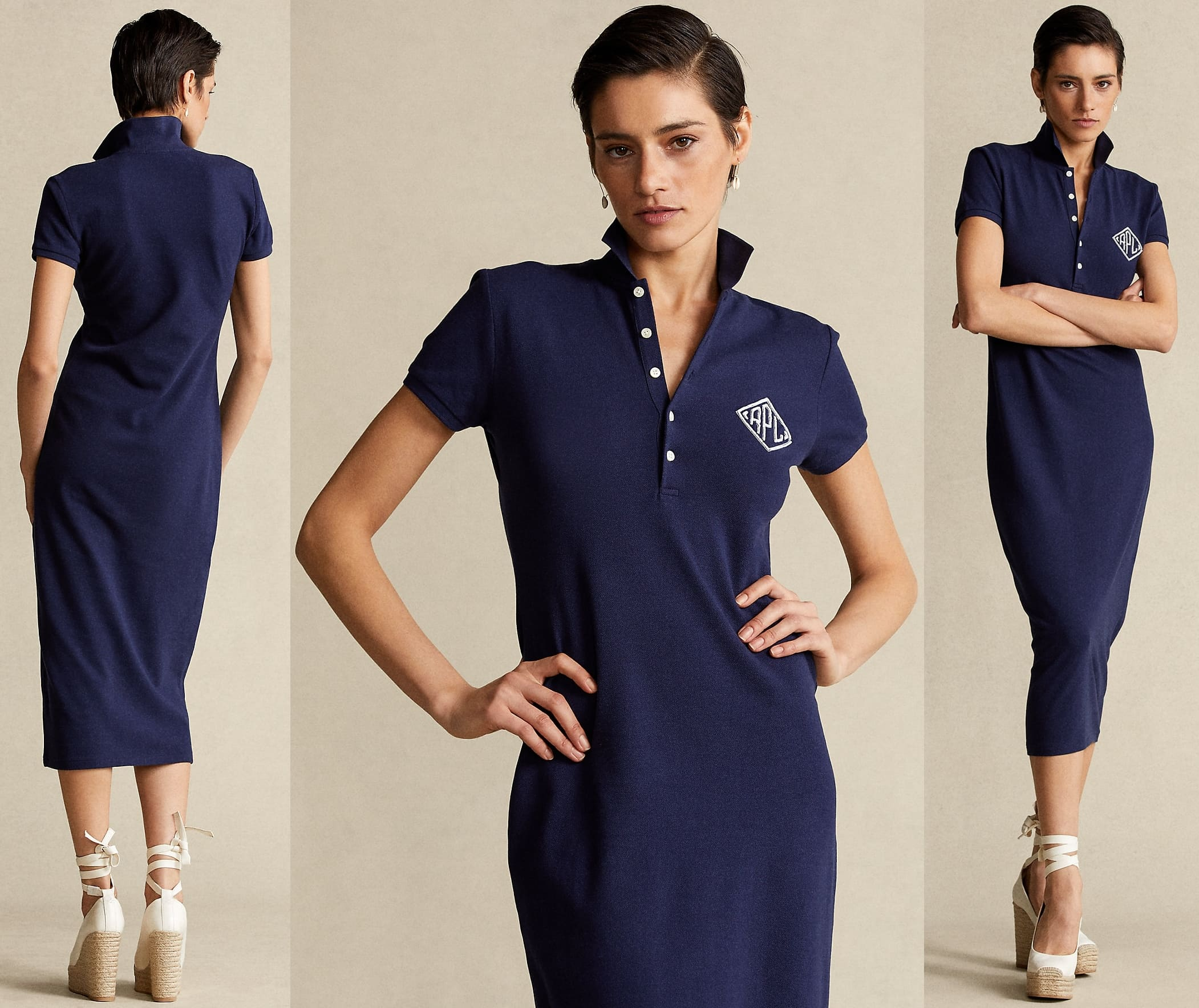 Presented in an elongated silhouette, this dress draws influence from Ralph Lauren's iconic Polo shirt
