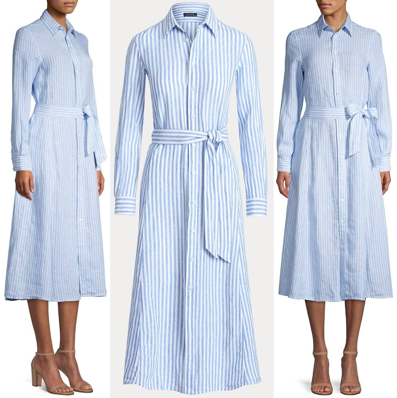 Lightweight linen brings ease of movement to this striped shirtdress, which features a fluid A-line skirt and is accented with a self-belt at the waist