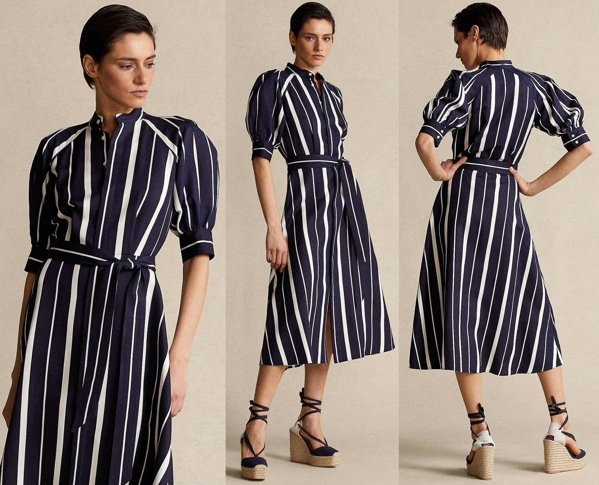 Cut for an A-line silhouette, this navy/cream stripe dress is crafted from pure silk for a fluid drape and easy movement