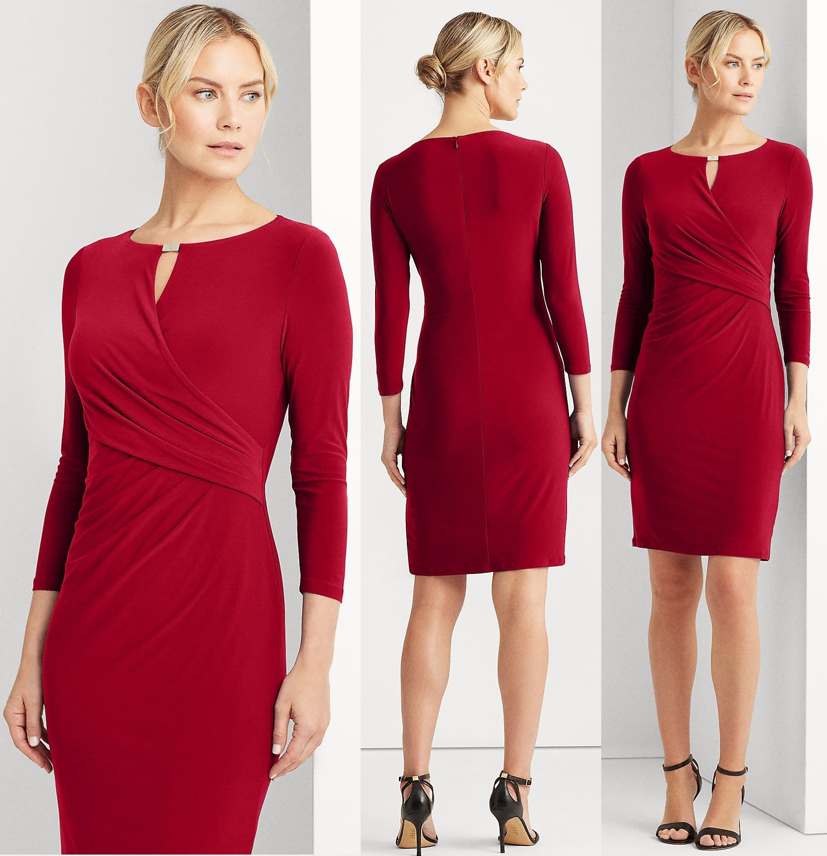 """The ideal day-to-night look, this lipstick-red jersey dress is designed with a wrap-style bodice to complement the waist and finished with a gold-tone """"LRL""""-engraved metal plate at the neck"""